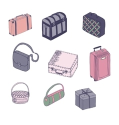 Collection of vintage suitcases vector