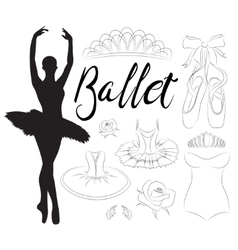 Ballet icon set vector