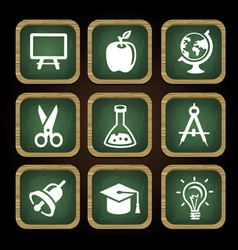 Education icons in square frames - back to school vector