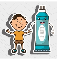 Boy with toothpaste isolated icon design vector