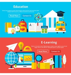 Education and e learning flat website banners vector