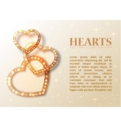 Romance background with shiny hearts and text for vector