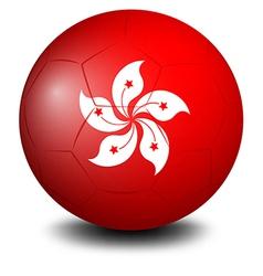 A soccer ball with the hongkong flag vector