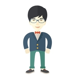 Asian businessman standing straight vector
