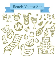 Beach elements vector image vector image