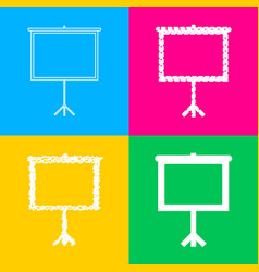 Blank projection screen four styles of icon on vector