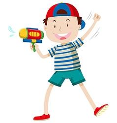 Boy with water gun vector
