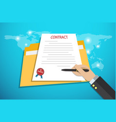 Businesshand holding pen to signing contract vector