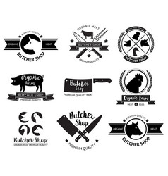 Butcher shop logo and label vector