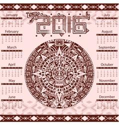 Calendar 2016 in aztec style vector image