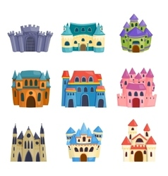 Castle cartoon set vector image