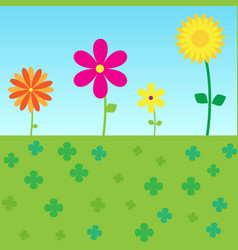 Colorful flowers floral blooming on grass vector