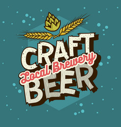 craft beer typographic label design with wheats vector image vector image