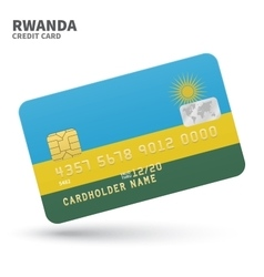 Credit card with rwanda flag background for bank vector