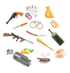Crime and money related set of objects vector