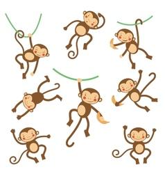Cute funny monkeys vector image vector image