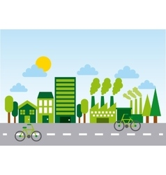 Ecology and green city design vector