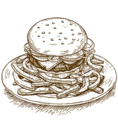 Engraving hamburger vector