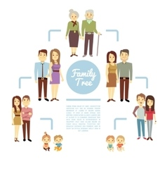 Family tree with people icons of four generations vector