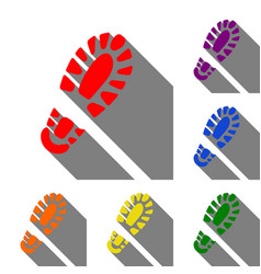 Footprint boot sign set of red orange yellow vector