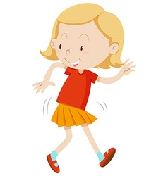 Girl with happy face dancing vector image vector image