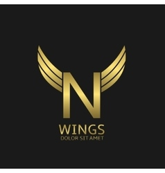 Golden n letter logo vector