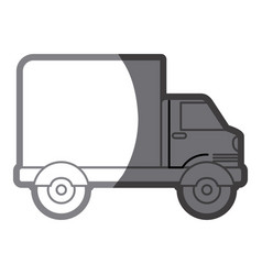 Grayscale silhouette of truck with wagon vector
