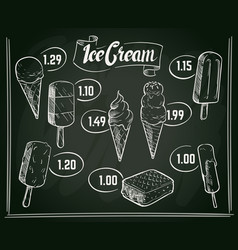Hand drawn ice cream menu design on vector