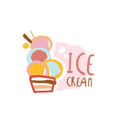 ice cream logo element for restaurant bar cafe vector image vector image