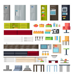 Kitchen interior elements collection vector