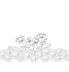 Lotus flowers art pattern vector
