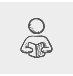 Man reading a book sketch icon vector