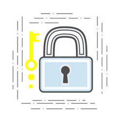 Padlock and key modern flat line vector
