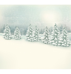 Retro christmas winter landscape background vector