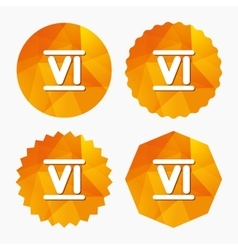 Roman numeral six icon Roman number six sign vector image vector image