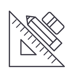 rule pen and erasergraphic tools line icon vector image