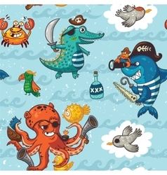 Seamless pattern with underwater pirates vector