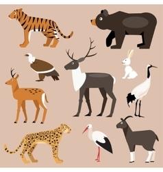 Set of animal far east vector