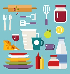 Set of Icons and in Flat Design Style Kitchen vector image vector image