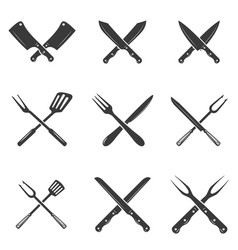Set of restaurant knives icons silhouette - vector