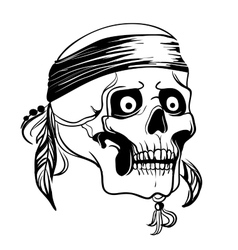 Skull with feathers vector