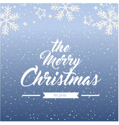 The merry christmas snowflake blue background vect vector