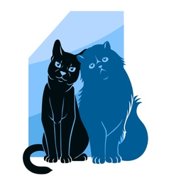 Two abstract cats vector