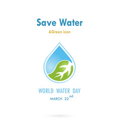 Water drop with leaf icon logo design vector