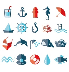 Water flat icons vector