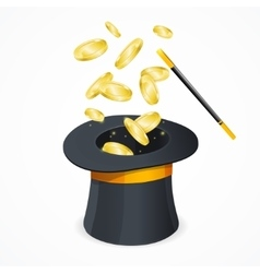 Win Concept with Magic Hat and Gold Coins vector image