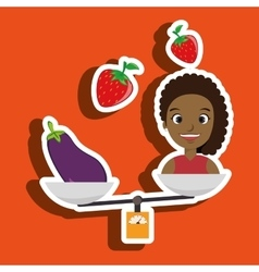 Woman cartoon vegetable organic balance vector