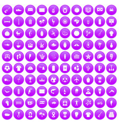 100 south america icons set purple vector