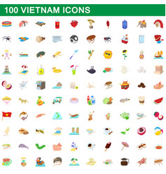 100 vietnam icons set cartoon style vector