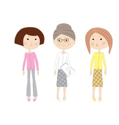 Three drawn cartoon business women vector